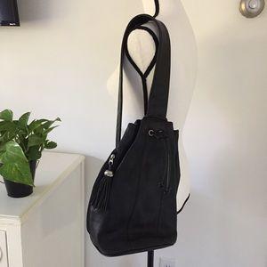 Handbags - Black leather backpack sling bag